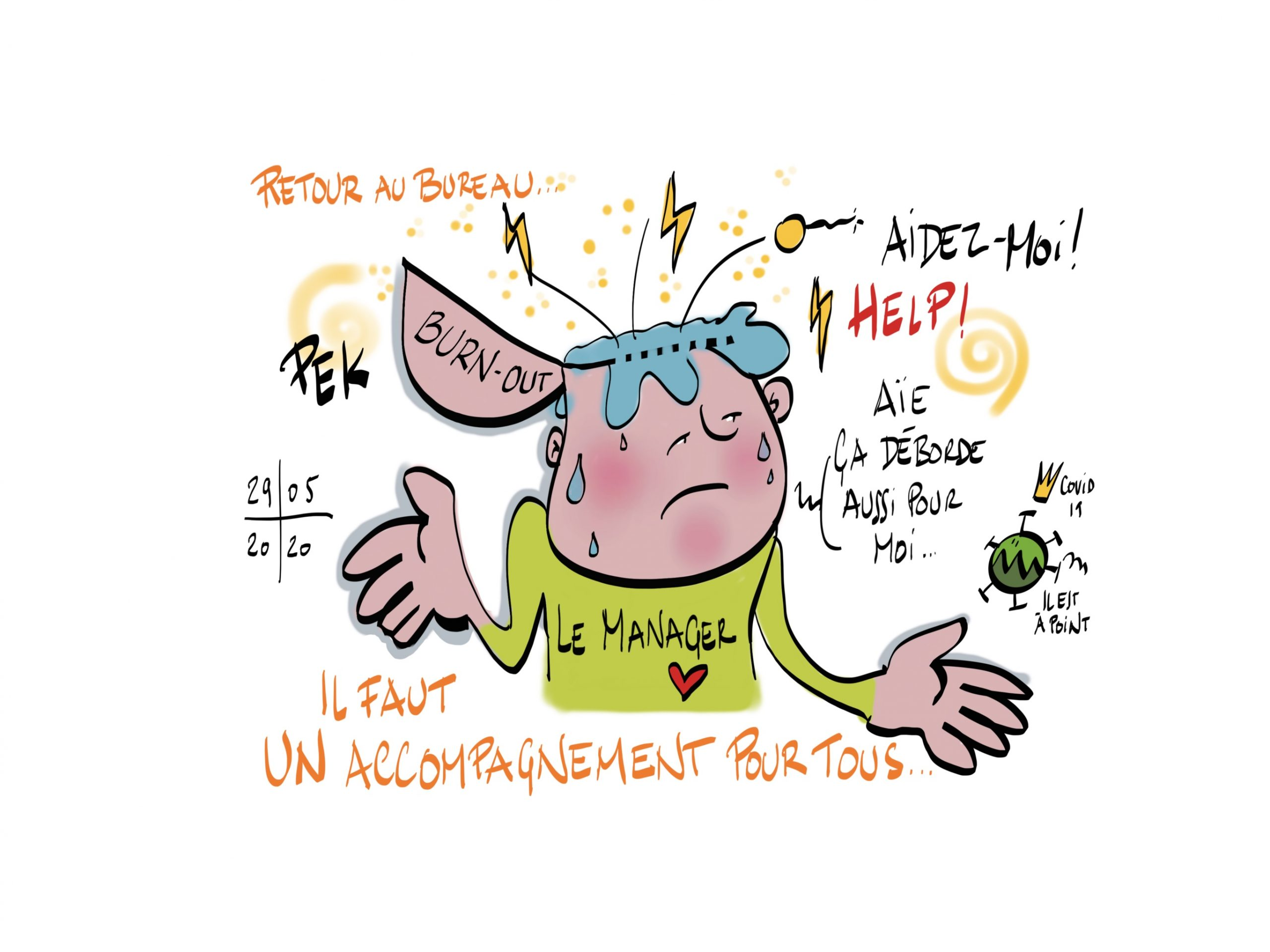 Managers ménagez-vous ! Attention burn-out, article et coaching de Sylvaine Messica, illustration de PEK (crédit)